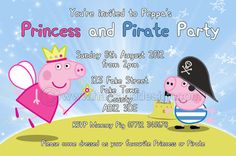 Personalised Princess and Pirate Peppa Pig invitations with envelopes x10