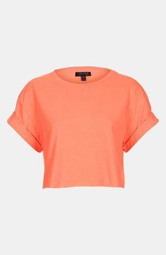 I love this block colour Crop top! Peach crop top from TopShop, #peach #top #TopShop