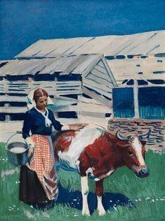 Edward Hopper, Milk Maid and Cow on ArtStack #edward-hopper #art