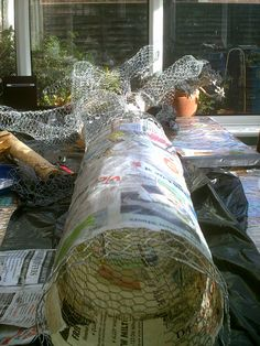 Paper mache tree in progress..view from base of trunk