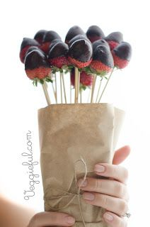 Chocolate Dipped Strawberry Bouquet {how-to} for Val day.  Give me these over flowers ... Any day!!!