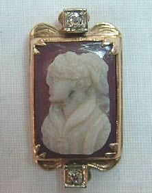 Antique Cameo 14kt Gold Cameo Mine Cut Diamond Pin/Pendant