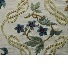Details of the covelet of William Morris's bed, embroidered by Jane Morris in 1894-5 at Kelmscott Manor.