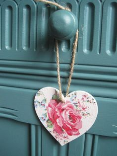 Items similar to Cath Kidston Rose decoupaged wooden hanging heart on Etsy Cute Crafts, Diy And Crafts, Arts And Crafts, Cath Kidston Rose, Turquoise Christmas, Craft Projects, Projects To Try, Heart Crafts, Hanging Hearts