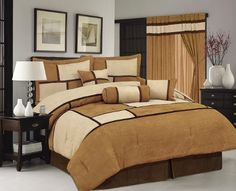 High Quality Brown Queen Soft Micro Suede Comforter Set Bedding-in-a-bag by FineHome. $69.99. included comforter, pillow sham(2), cushion(2), bedskirt and neckroll. 100% Polyester micro suede material. filling: 100% polyester. We have this design in  Twin, Queen, King CalKing comforter set and matching window curtain. Product Description: Brand New 7pcs Luxioury MicroSuede in Brown / tan, Black / white, Aqua / off white, Burgundy / Brown, Purple / Lavender, Sage Green / O...