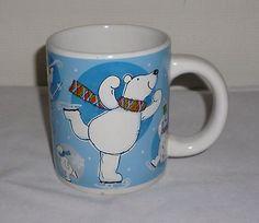 Winter Ice Skating Polar Bears Coffee Mug