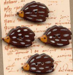 hedgehog buttons, ceramic