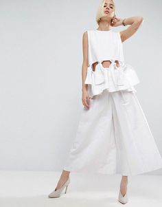 58a070c844 Asos Twill Leg Culottes With Pleats Trousers Women