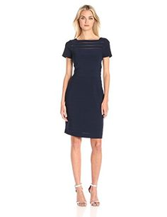 Adrianna Papell Womens Short Sleeve Banded Dress with Back Deatil Eclipse 6 ** You can find more details by visiting the image link. (Note:Amazon affiliate link)