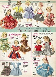 Vintage Children's Clothing Pictures & Shopping Guide - Baby clothing boy, Baby clothing girl, Gender neutral and baby clothing Vintage Outfits, Vintage Girls Dresses, Vintage Inspired Outfits, Vintage Fashion, 1950s Dresses, Vintage Clothing, Kids Clothes Patterns, Clothing Patterns, Kids Clothing