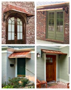 Beautiful Door and Window Awnings | Design Your Awning Metal Door Awning, Copper Awning, Front Door Awning, Window Awnings, Front Porch, Stucco Exterior, Cottage Exterior, Building Exterior, Home Styles Exterior