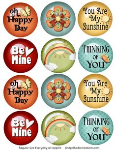 Everyday-lid-toppers- Wouldn't these be cute as jar tops for gifts for Visit Teaching