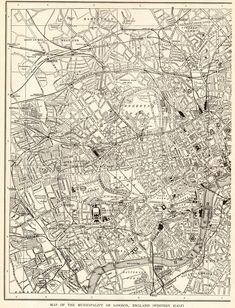 1907 Antique LONDON Street Map Vintage City Map of London England Black and White Wall Art Gift for Birthday Wedding Anniversary 11673 by plaindealing on Etsy Map Wall Art, Map Art, Wall Murals, World Map Decor, Black And White Wall Art, Black White, London Map, Old Maps, Vintage Maps