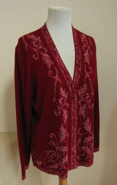 Norm Thompson Cardigan Sweater Large L Wool blend dark Red ruby v-neck Jacquard  #NormThompson #Cardigan