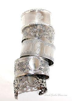 Antique French Sterling Monogrammed Cuff Bracelet