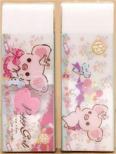 white Piggy Girl pig eraser with heart by San-X