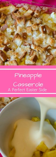 Pineapple Casserole is the perfect side for you Easter ham. This family recipe is easy to make and always a crowd pleaser. It's the perfect blend of sweet and savory! You'll never want ham without it again!