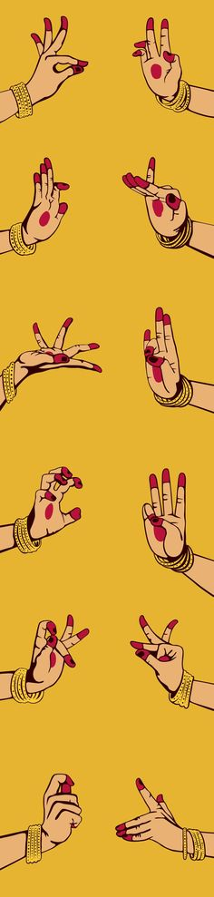 indian classical dance Illustration for LivingArt 2012 diary, featuring mudras. The mudras are symbolic hand gestures in the classical Indian dance of Bharat Natyam. Dancing Drawings, Art Drawings, Art Bouddhique, Bts Design Graphique, Hand Mudras, Bollywood, Indian Illustration, Indian Classical Dance, Creation Art