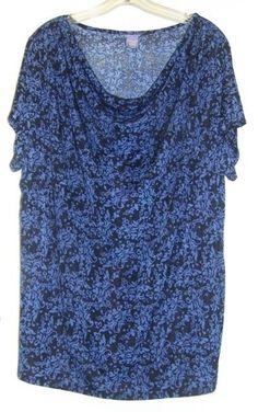 LAURA SCOTT Blue & Black Poly/Spandex Short Sleeve Draped Top 16/18 #LauraScottWoman #Blouse #Casual