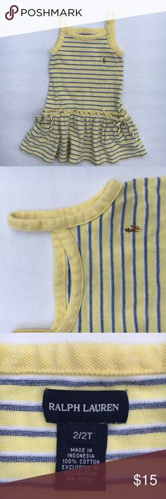 Ralph Lauren classic sundress Classic Ralph Lauren pique sundress in yellow with navy stripes EUC. Minimal signs of wear. No marks, rips, or stains.  Drop waist, front pockets with bows 100% cotton pique fabric Dresses
