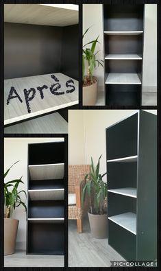 Après ... Bombe de peinture noir mat Action et papier adhésif imitation bois blanchi.