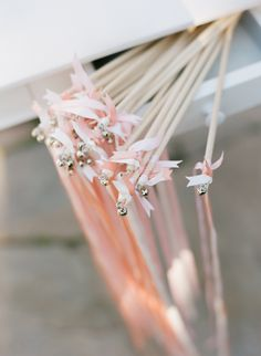 ribbon wands for weddings since we can't have sparklers at the venue and I don't want anyone to slip on spilled bubble solution
