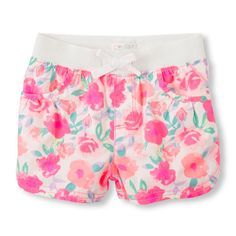Place Shops Toddler Rib-Knit Waist Woven Shorts - Pink - The Children's Place