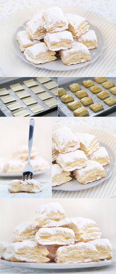 Miguelitos of La Roda (puff pastry and cream), Albacete, Spain origin Mexican Food Recipes, Sweet Recipes, Dessert Recipes, Puff Pastry Recipes, Latin Food, Love Food, Cupcake Cakes, Food To Make, Sweet Treats