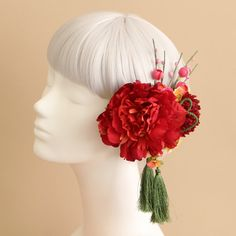 和装髪飾りパーツ_ヘッドドレスと花髪飾りairaka