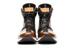 Image of Alexander McQueen Punch-Hole High-Top Sneakers Black