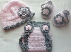 Baby Girl Crochet Hat Booties diaper cover photo by babybear27129, $20.00