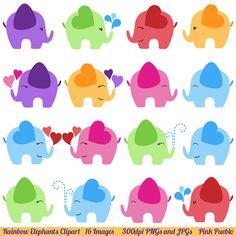 Elephant Clipart Elephant Clip Art Commercial and por PinkPueblo