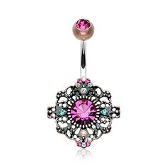 Vintage Fashion and Lifestyle Vintage Boho Filigree Flower Belly Button Ring - Sold Individually