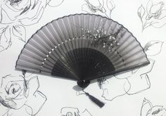 Chinese Folding Bamboo Silk Fan Handmade with Blossom Flower Detail Pattern…