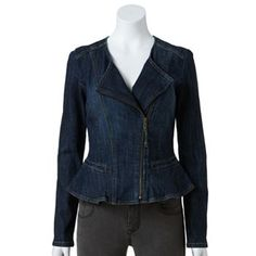 ELLE Ruffle-Hem Denim Jacket - Women's
