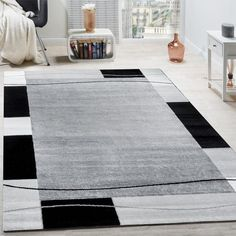 Living Room Carpet Choice for Your Home Paco Home Designer Rug Living Room Rug Border in Gray rnrnSource by Dark Grey Rug, Black Rug, Brown Rug, White Rug, Simple Living Room, Living Room Grey, Rugs In Living Room, Cozy Living, Duck Egg Blue Rugs