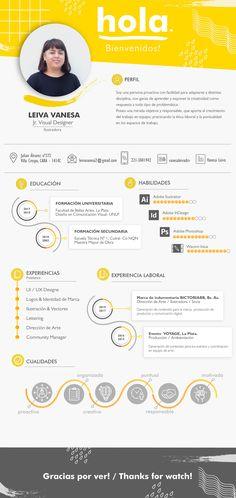 Creative infographic resume / CV of Vanesa Leiva. Graphic Design Resume, Resume Design Template, Creative Resume Templates, Infographic Resume, Creative Infographic, Infographics, Cv Curriculum Vitae, Curriculum Design, Conception Cv