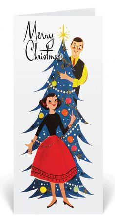Retro Modern Vintage 1950's Holiday Card, mid-century modern holiday cards, retro couple Christmas cards, vintage greeting cards