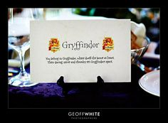 @carly k. Nallar Harry potter themed wedding. These are seat placement ideas.