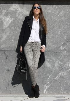 Leopard & White #outfit , Sandro in Coats, Current Elliott in Jeans, Isabel Marant in Ankle Boots / Booties, Cos in Shirt / Blouses, Dolce & Gabbana in Bags