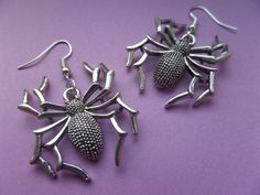 Halloween Creepy Spider in antique silver - Tibetan Silver Earrings - In Organza gift bag. by SAFIandSUSU on Etsy
