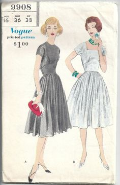 Vogue 9908 Misses Dress With Round Or Wide Square Neckline, Kimono Sleeves And 4 Gore Unpressed Pleated Skirt Size 16 Bust 36 Complete 1959