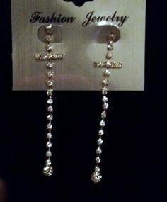 """SHINE WITH THESE 4"""" SILVER DANGLE COMPLETE CRYSTALS CROSS EARRINGS-FREE SHIPPING"""