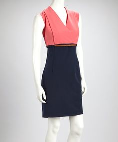 Take a look at this Voir Voir Coral & Navy Color Block Belted Sleeveless Surplice Dress - Women on zulily today!