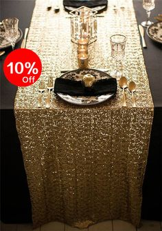 Gold Sequin Table Runner Sparkly Sequin Runner by WeddingbyShane