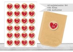 "www.papierbuedchen.de - DIY Adventskalender \"" Tüten & Aufkleber \"" (K3)"