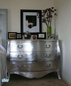 Still Stylin In Silver Metallic Painted Furniture Silver Painted Chest Of Drawers Painted Furniture Silver Painted Furniture, Metal Furniture, Paint Furniture, Repurposed Furniture, Furniture Projects, Furniture Making, Furniture Makeover, Bedroom Furniture, Home Furniture
