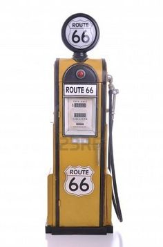 b3962a493f2a38 Copy of a yellow vintage route 66 fuel pump isolated on white