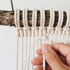 I've been wanting to create something with vertical half hitch knots for a whi. No automatic alt text available. Macrame Wall Hanging Diy, Macrame Curtain, Macrame Plant Hangers, Macrame Art, Macrame Projects, Half Hitch Knot, Micro Macramé, Ornament Tutorial, Macrame Design