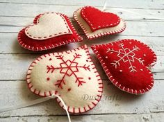 Please NOTE !!! In-time Christmas orders are over. Your order will be processed after holidays. Happy Holidays to all! ------------------------------------------ Felt christmas ornaments - set of 10 heart, star, snowflake traditional ornaments white and red / wool blend felt Listing is